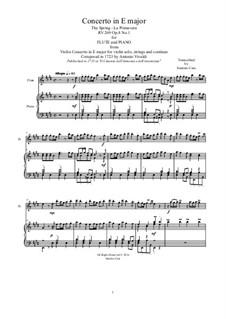 Violin Concerto No.1 in E Major 'La primavera', RV 269: Arrangement for flute and piano by Antonio Vivaldi