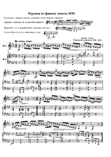 Sonata for Piano No.43 in E Flat Major, Hob.XVI/28: Fragment from Finale. Version for french horn and piano by Joseph Haydn