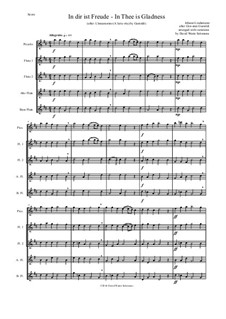 In dir ist Freude (In Thee is gladness): For flute quintet (piccolo, 2 flutes, alto flute, bass flute) by Giovanni Giacomo Gastoldi, Johann Lindemann