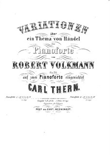 Variations on a Theme by Handel for Piano, Op.26: For two pianos four hands – piano II part by Robert Volkmann