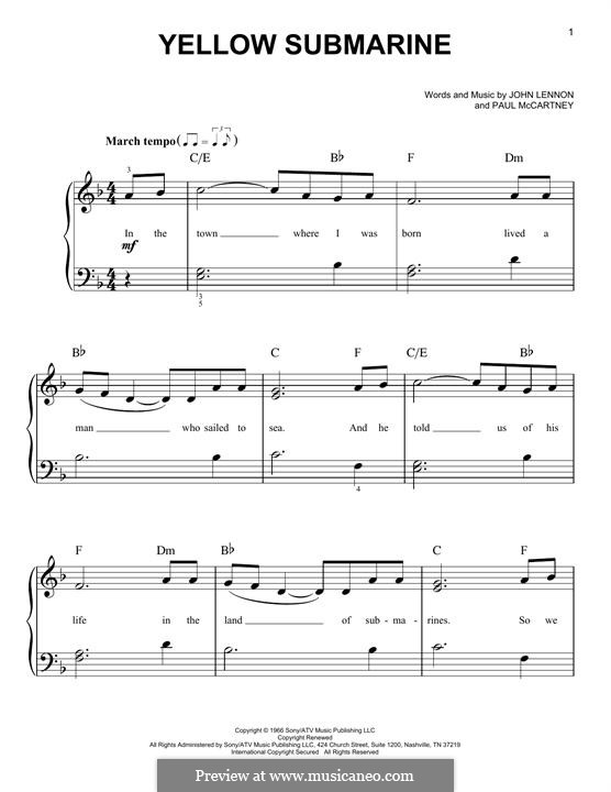 Yellow Submarine (The Beatles): For piano by John Lennon, Paul McCartney