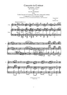 Violin Concerto No.2 in G Minor 'L'estate', RV 315: Arrangement for flute and piano by Antonio Vivaldi