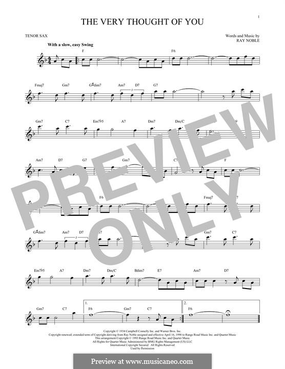 The Very Thought of You: For tenor saxophone by Ray Noble