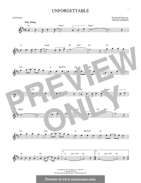 Unforgettable: For alto saxophone by Irving Gordon
