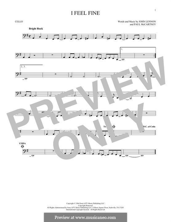 I Feel Fine (The Beatles): For cello by John Lennon, Paul McCartney