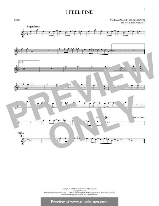 I Feel Fine (The Beatles): For oboe by John Lennon, Paul McCartney