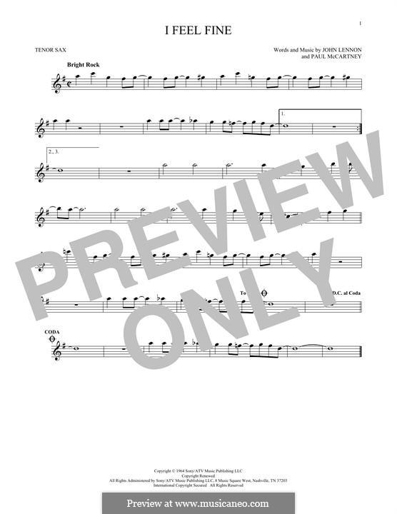 I Feel Fine (The Beatles): For tenor saxophone by John Lennon, Paul McCartney