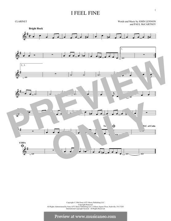 I Feel Fine (The Beatles): For clarinet by John Lennon, Paul McCartney