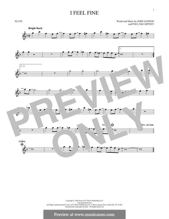 I Feel Fine (The Beatles): For flute by John Lennon, Paul McCartney