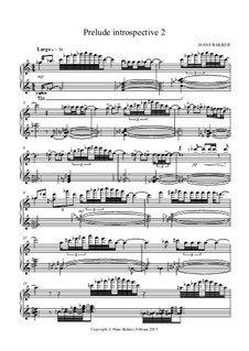 Prelude introspective 2 for piano: Prelude introspective 2 for piano by Hans Bakker