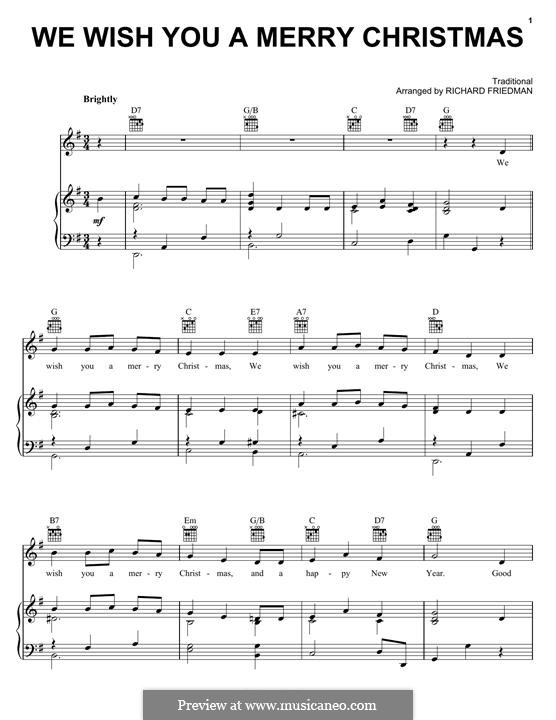 We Wish You a Merry Christmas (Printable Scores): For voice and piano (or guitar) by folklore