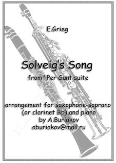 Suite No.2, Op.55: Solveig's Song, for soprano saxophone and piano by Edvard Grieg