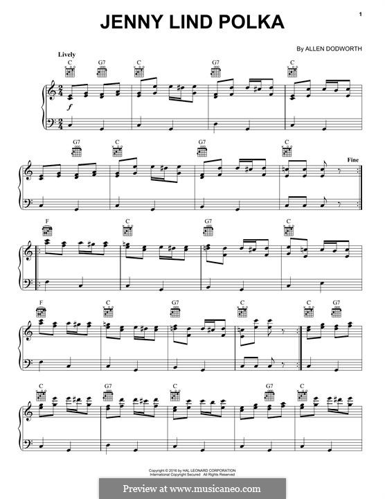 Jenny Lind Polka: For piano by Allen Dodworth