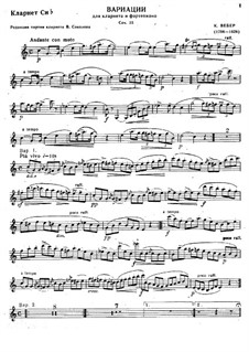 Variations on Theme from 'Silvana' for Clarinet and Piano, J.128 Op.33: Solo part by Carl Maria von Weber