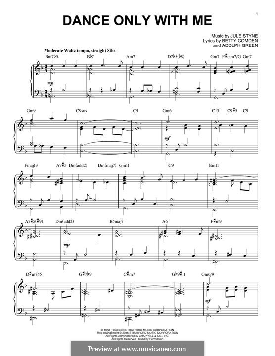 Dance Only with Me (Peggy Lee): For piano by Jule Styne