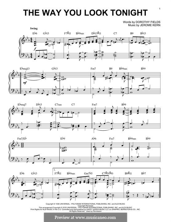The Way You Look Tonight, for Piano: For a single performer by Jerome Kern