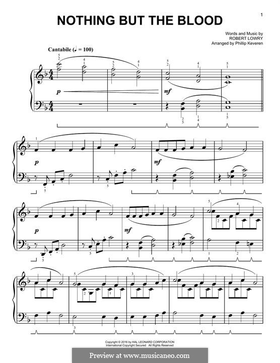 Nothing But the Blood: For piano by Robert Lowry