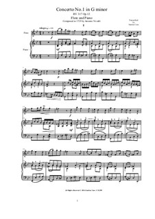Concerto for Violin and Strings in G Minor, RV 317 Op.12 No.1: Arrangement for flute and piano by Antonio Vivaldi