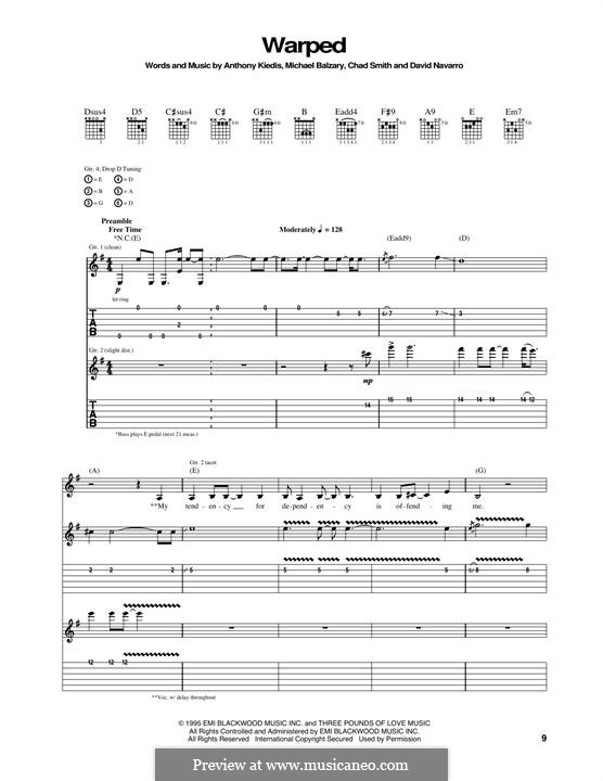 Warped (Red Hot Chili Peppers): For guitar with tab by Flea, Anthony Kiedis, Chad Smith, Dave Navarro