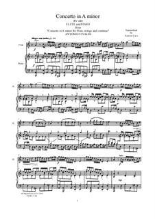 Concerto for Flute and Strings in A minor, RV 440: Version for flute and piano by Antonio Vivaldi