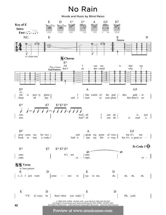 No Rain (Blind Melon): For guitar with tab by Brad Smith, Christopher Thorn, Glen Graham, Roger Stevens, Shannon Hoon