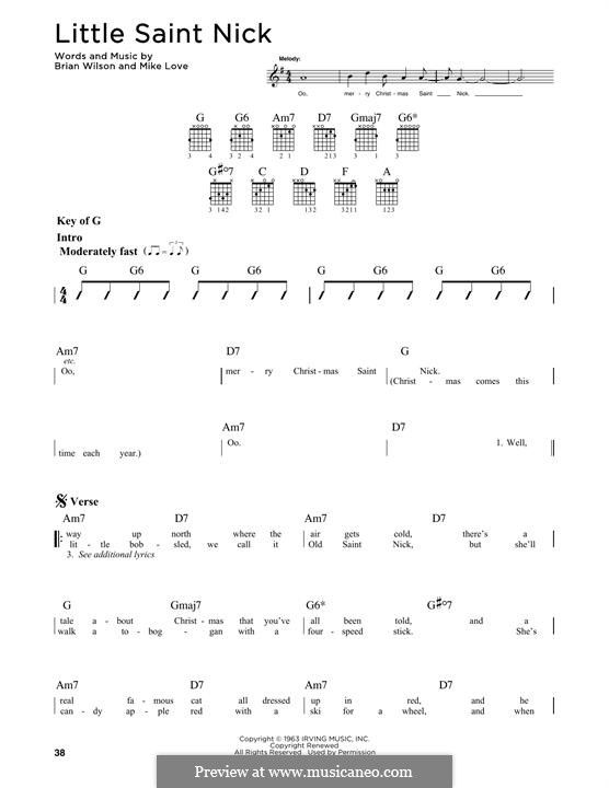 Little Saint Nick (The Beach Boys): For guitar with tab by Brian Wilson, Mike Love
