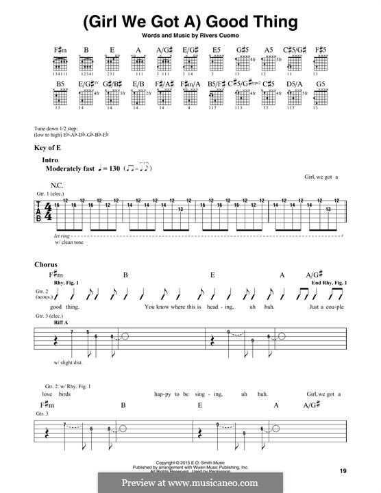 (Girl We Got A) Good Thing (Weezer): For guitar with tab by Rivers Cuomo