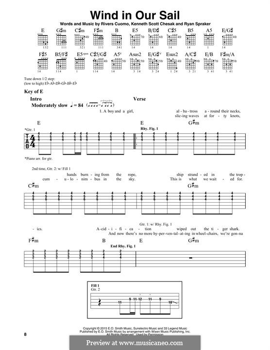 Wind in Our Sail (Weezer): For guitar with tab by Rivers Cuomo, Kenneth Scott Chesak, Ryan Spraker