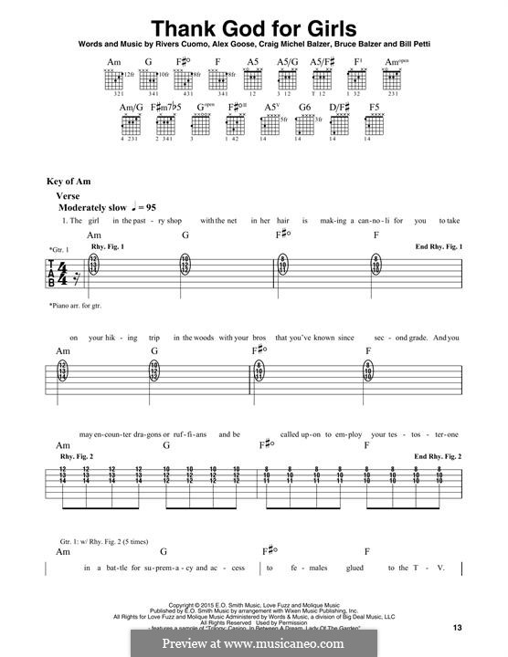 Thank God for Girls (Weezer): For guitar with tab by Rivers Cuomo, Alex Goose, Bill Petti, Bruce Balzer, Craig Michel Balzer