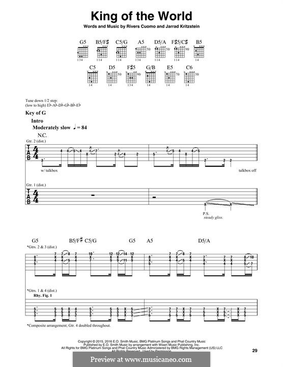 King of the World (Weezer): For guitar with tab by Rivers Cuomo, Jarrad Kritzstein