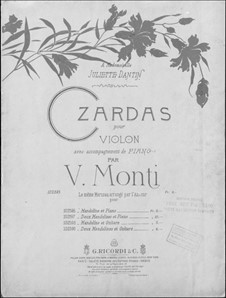 Czardas: For violin and piano by Vittorio Monti