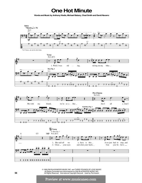 One Hot Minute (Red Hot Chili Peppers): For bass guitar with tab by Flea, Anthony Kiedis, Chad Smith, Dave Navarro