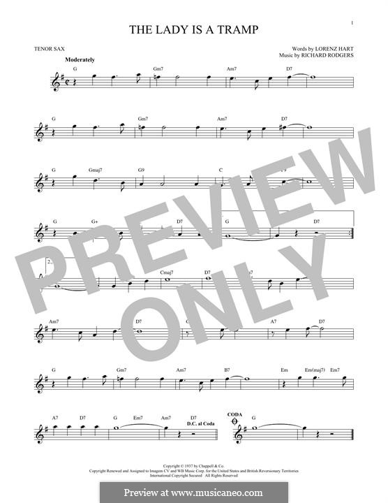 The Lady is a Tramp (Frank Sinatra): For tenor saxophone by Richard Rodgers