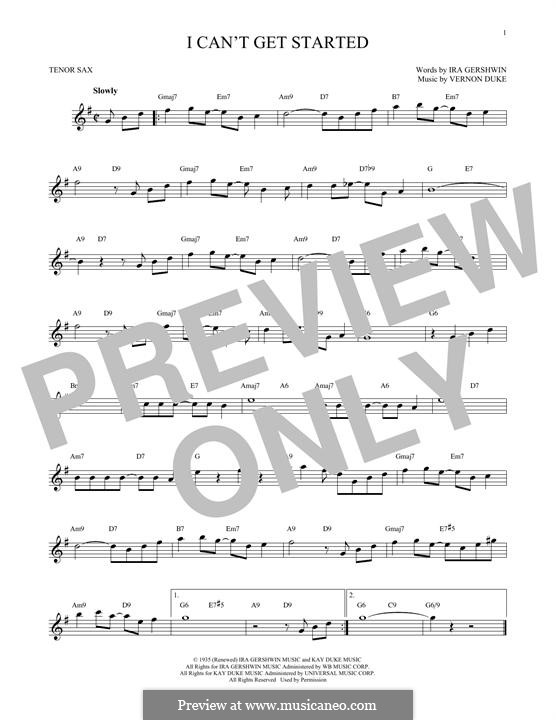 I Can't Get Started with You: For tenor saxophone by Vernon Duke