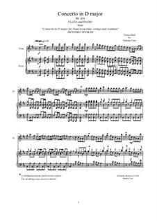 Concerto for Flute and Piano in D Major, RV 429: Score, solo part by Antonio Vivaldi