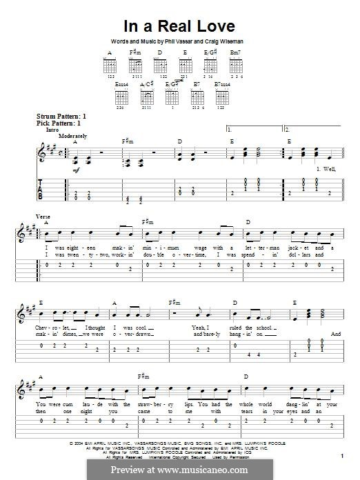 In A Real Love (Phil Vassar): For guitar with tab by Craig Wiseman