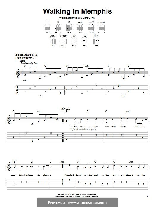 Walking in Memphis: For guitar with tab (Lonestar) by Marc Cohn