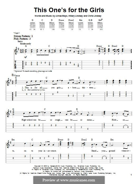 This One's for the Girls (Martina McBride): For guitar with tab by Aimee Mayo, Chris Lindsey, Hillary Lindsey
