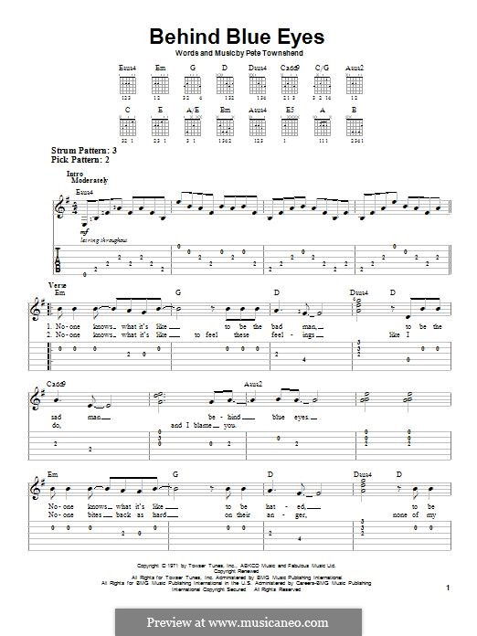 Behind Blue Eyes (Limp Bizkit): For guitar with tab by Peter Townshend