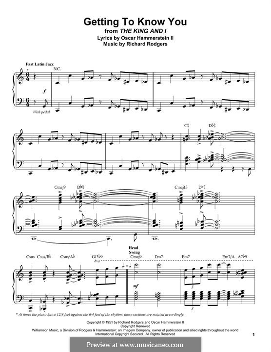 Getting to Know You (from The King and I): For piano by Richard Rodgers