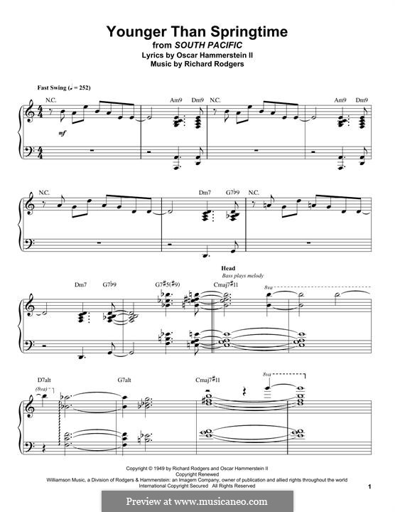 Younger Than Springtime (from South Pacific): For piano by Richard Rodgers
