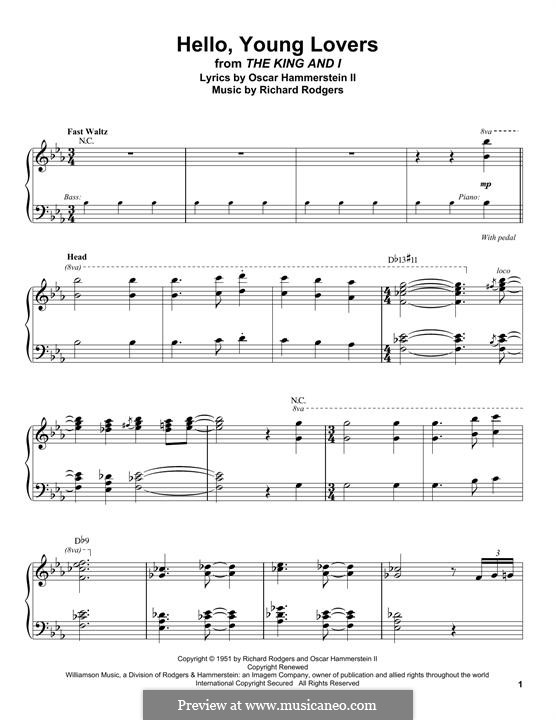 Hello, Young Lovers: For piano by Richard Rodgers