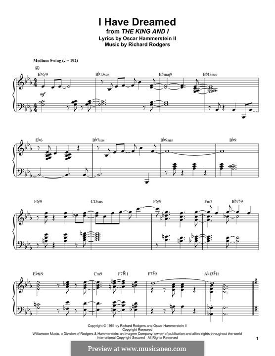 I Have Dreamed (from The King and I): For piano by Richard Rodgers