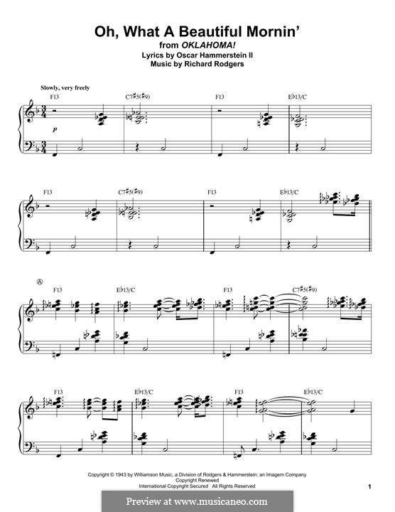 Oh, What a Beautiful Mornin' (from 'Oklahoma!'): For piano by Richard Rodgers