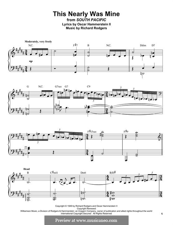 This Nearly Was Mine (from South Pacific): For piano by Richard Rodgers