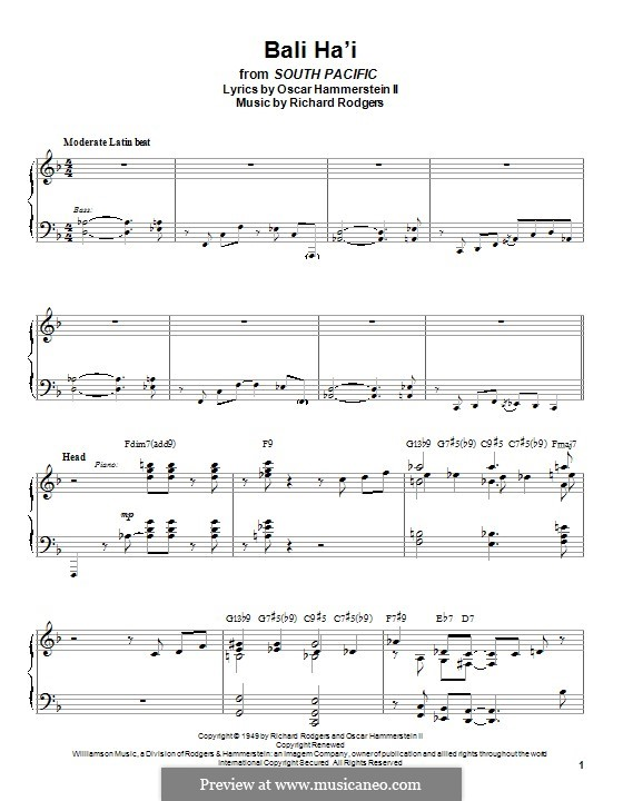 Bali Ha'i: For piano by Richard Rodgers