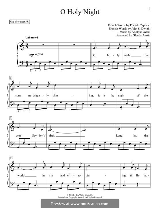 O Holy Night, for Piano: For a single performer by Adolphe Adam