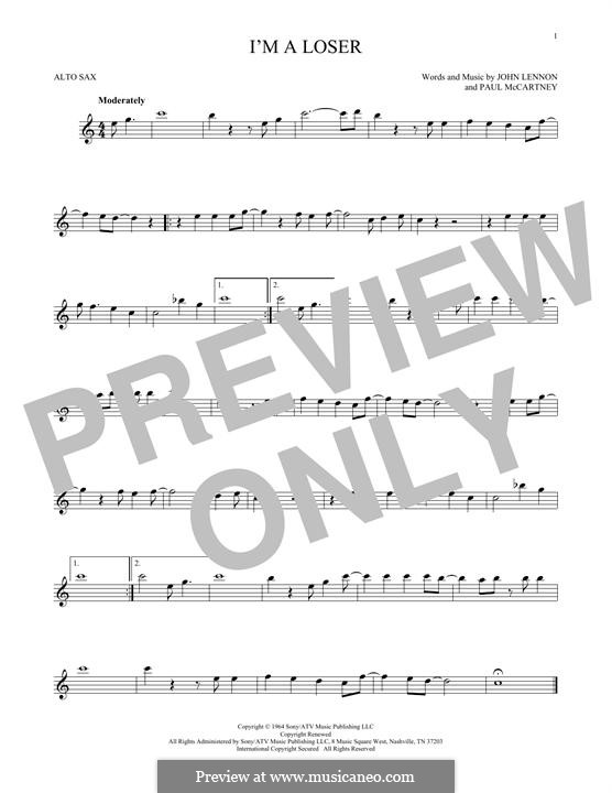 I'm a Loser (The Beatles): For alto saxophone by John Lennon, Paul McCartney