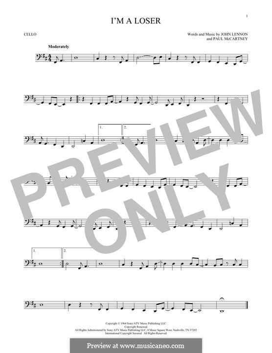 I'm a Loser (The Beatles): For cello by John Lennon, Paul McCartney