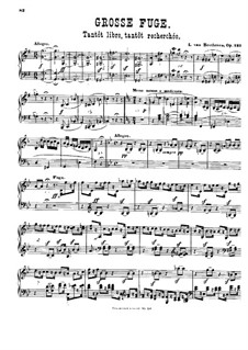 Grand Fugue in B Flat Major for String Quartet, Op.133: For piano by Ludwig van Beethoven